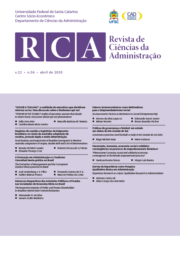 Visualizar v. 22 n. 56 (2020): Revista de Ciências da Administração